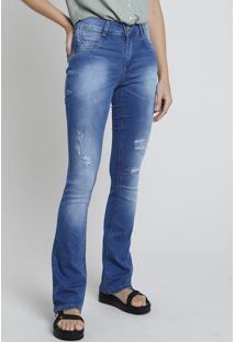 Calça Jeans Feminina Bbb Sawary Boot Cut Cintura Média Destroyed Azul Médio
