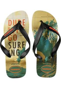 Chinelo Havaianas Surf Masculino - Masculino-Bege+Preto