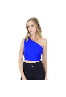 Blusa Top Ombro Único Amarelo - Azul Aha