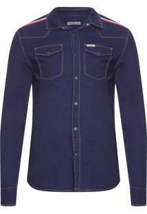 Camisa Masculina Jeans Manga Longa - Azul