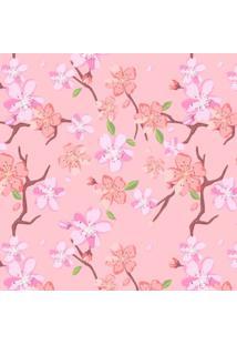 Papel Adesivo Sunset Adesivos De Parede Flor De Cerejeira Fundo Rosa - Rolo 3,00 X0,50 M