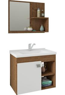 Conjunto Para Banheiro Com 1 Porta E Cuba Lotus-Mgm - Amendoa / Branco