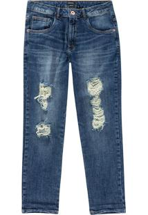 Calça Jeans Destroyed Malwee Azul Claro - 34