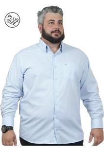 Camisa Plus Size Bigshirts Manga Longa Maquineta Azul