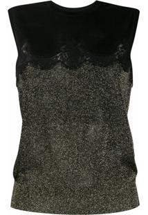 Dolce & Gabbana Blusa De Tricô Com Renda E Brilho - Preto