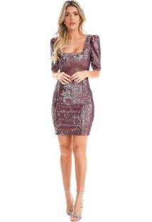 Vestido Lala Dubi Curto Paetê - Feminino-Rose Gold