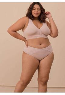 Calcinha Com Detalhe Renda Plus Size Rosê-48 Rosa