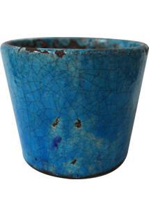Cachepot Craquelado- Azul & Marrom- 14Xã˜12Cm- Btbtc Decor