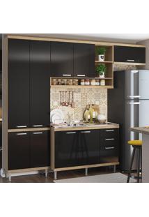 Cozinha Compacta Sicília 9 Portas 3 Gavetas Com Balcão Para Pia Preto/Argila - Multimóveis