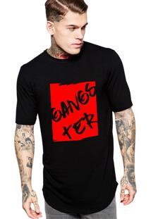 Camiseta Criativa Urbana Long Line Oversized Gangster Vermelho Preto