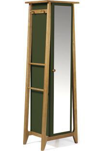 Sapateira Stoka Com Espelho Nogal E Verde Limão