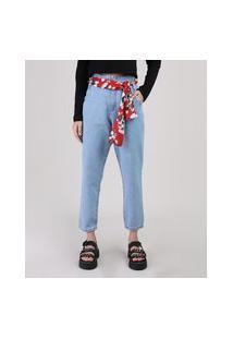 Calça Jeans Feminina Mom Com Lenço Cintura Média Azul Claro