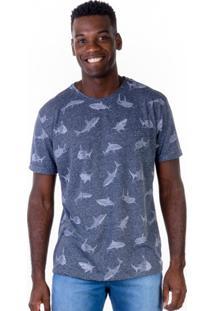 Camiseta Full Print - Tubarões