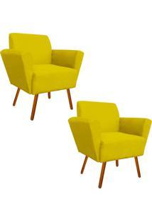 Kit 02 Poltronas Decorativa Dora Suede Amarelo - D'Rossi - Amarelo - Dafiti