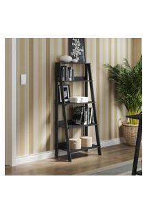 Estante Escada Para Livros Com 4 Prateleiras Madesa Preto