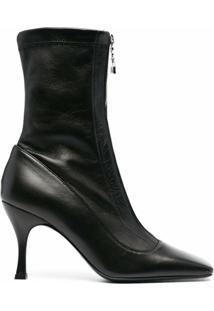 Patrizia Pepe Ankle Boot Com Bico Quadrado - Preto