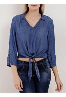 Blusa Jeans Manga 3/4 Feminina - Feminino-Azul