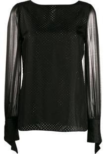 Karl Lagerfeld Blusa Translúcida Karl X Carine - Preto