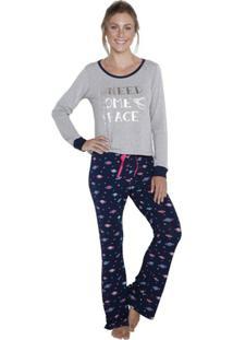 Pijama Longo Inspirate Planetas Feminino - Feminino-Cinza+Marinho