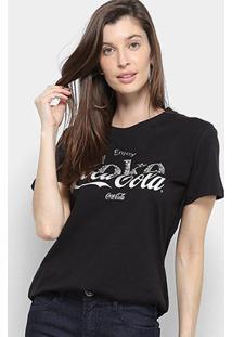 Camiseta Coca Cola Enjoy C/ Aplique Manga Curta Feminina - Feminino-Preto
