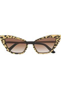 Dolce & Gabbana Eyewear Óculos De Sol Gatinho Animal Print - Preto