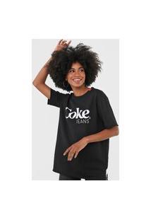 Camiseta Coca-Cola Jeans Lettering Preto
