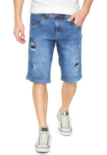 Bermuda Jeans Zune Reta Lisa Azul