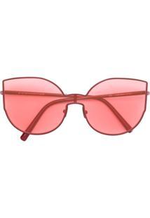 Retrosuperfuture Óculos De Sol Oversized - Vermelho