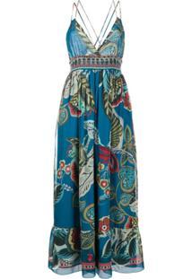 Redvalentino Vestido Gola V Com Estampa - Azul