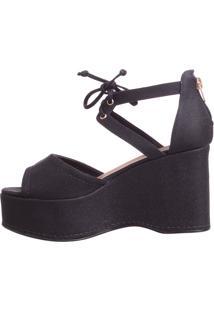 Sandália Plataforma Butique De Sapatos Preta Perolada