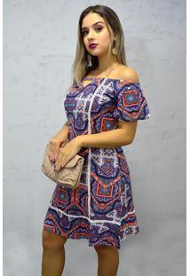 Vestido Curto Viscolycra Mangas Étnico Multicolor