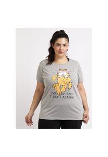 Blusa Feminina Plus Size Garfield Ace Esporte Manga Curta Decote Redondo Cinza Mescla