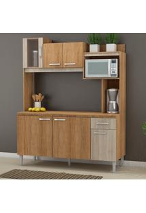 Cozinha Compacta Angel 6 Portas Com Tampo Carvalho/Blanche - Fellicci