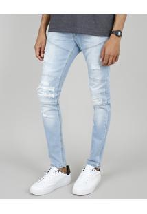 Calça Jeans Masculina Skinny Com Recortes E Rasgos Azul Claro