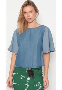 Blusa Jeans Com Pespontos - Azul - Forumforum