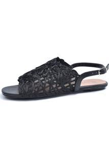 Rasteira Avarca Scarpan Calçados Finos Sandália Em Tecido Tramado Preto - Tricae