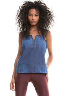 Regata Com Ilhós No Decote Blue Jeans