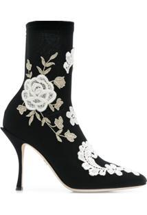 Dolce & Gabbana Ankle Boot De Couro Bordado - Preto