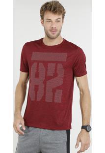 "Camiseta Masculina Esportiva Ace ""82"" Manga Curta Gola Careca Vermelha"