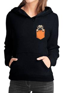 Moletom Criativa Urbana Pug In The Pocket Tumblr Casaco Blusa Preto - Kanui
