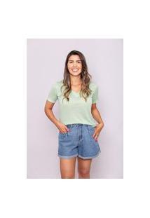 Blusa Gola V Multi Ponto Denim Verde