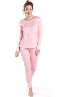 Pijama Feminino De Inverno Poá Rosa