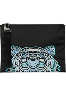 Kenzo Embroidered Tiger Motif Pouch - Preto