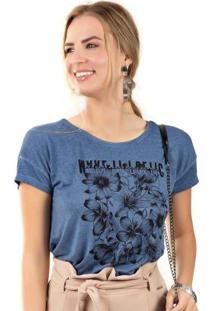 Blusa Com Estampa Tropical Azul