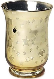 Castiçal Porta Vela Decoração Natal C/ Estrela 15X11Cm Dourado