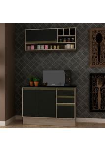 Cozinha Compacta Safira 3 Pt 3 Gv Preta E Creme