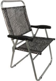 Cadeira De Praia Cancun Plus Zaka Alumínio Estampada Até 100 Kg Zebra