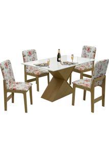 Conjunto De Mesa Com 4 Cadeiras Com Tampo Mdf Viena - Dobuê - Mel / Off / Vermelho Floral