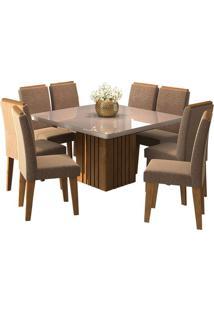 Sala De Jantar Ana 130Cm X 130Cm Com 8 Cadeiras Savana/Off White Pluma