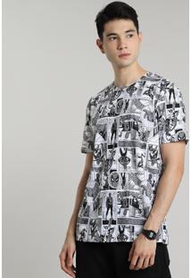 Camiseta Masculina Homem Aranha Estampada Quadrinhos Manga Curta Gola Careca Off White